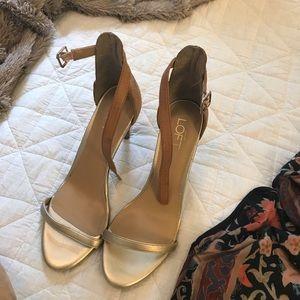 LOFT gold minimalist ankle strap heel